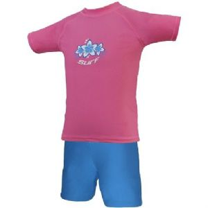 Girls Pink & Blue Surf UV Sun Protection Rash Vest and Swim Shorts UPF 50+